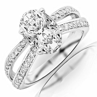 Ct Oval Shae Split Shank GIA Certified Diamond Engagement Ring H VVS2