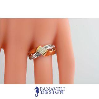 12 Ct Princess Cut Round Diamond Engagement Ring 14k Two Tone Gold