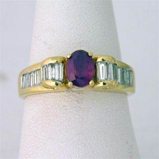 14k Yellow Gold Oval Cut Ruby Gemstone and Diamond Ring