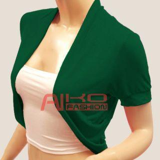 Ladies Short Sleeve Bolero Jacket Womens Shrug Cardigan Size s M L XL
