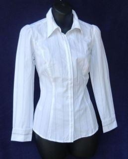 New Ann Taylor Loft White Piinstripe Career Shirt Top Sz 2 P