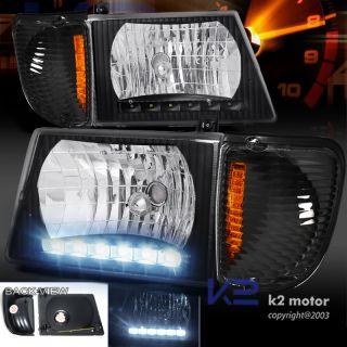 92 06 E Series Van Econoline Black LED Headlights Signal Corner Lamps