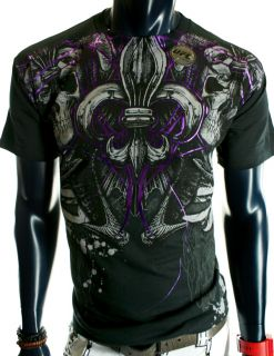 NWT MENS SKULLS CROSS WINGS UFC MMA PURPLE BLACK SKATE CLUB T SHIRT XL