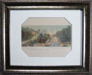 WALLACE NUTTING A Little River with Mt Washington Framed Hand Colored
