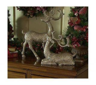 Gold Glittered Christmas Holiday Reindeer Set Valerie Parr Hill
