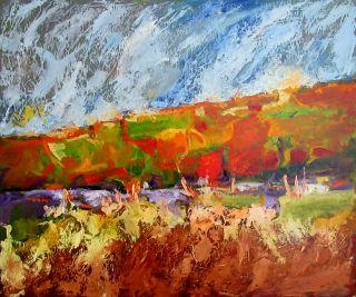 Landscape Painting Large 60x50cm MDF Panel Abrahams Original Art
