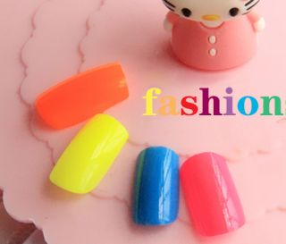 Candy Color Lovely 24 Nail Art Tips Polish Acrylic Nails Foils False
