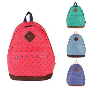 Polka Dot Pinted Cotton Backpack School Bag Book Bag 4 Colors