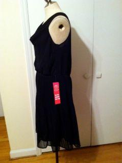 Forever Black Chiffon Dress w Accordian Pleat XL