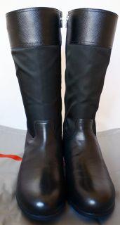 Prada Tall Black Leather Logo Riding Emblem Boots 35 5 New w Box MIU