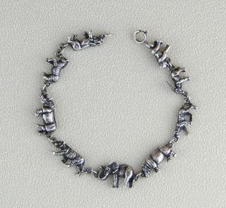 Kabana Sterling Silver African Animals Link Charm Bracelet