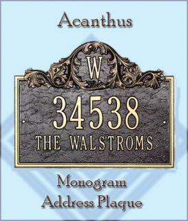 Whitehall Acanthus Monogram Address Plaque Marker Sign