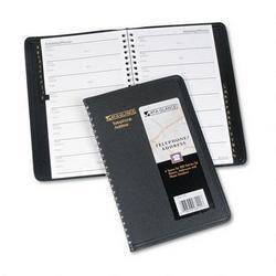 At A Glance Classic Telephone Address Book Wirebound 4 7 8 x 8 Black