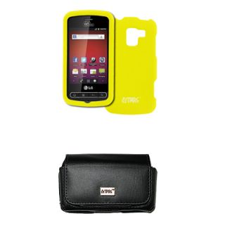 Yellow Hard Case Protective Cover Leather Pouch for LG Optimus Slider