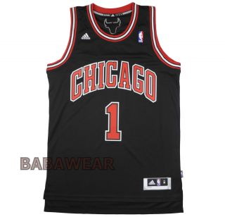Derrick Rose Large Adidas Swingman Jersey NBA Chicago Black Red BABA