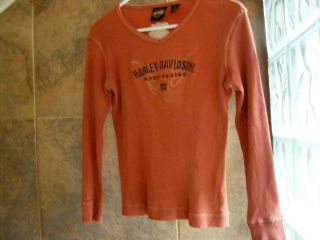 Harley Davidson Womens Long Sleeved V neck Orange Shirt Size Small