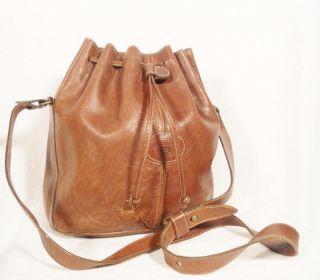 Etienne Aigner Large Brown Leather Bucket Bag Purse Tote Handbag