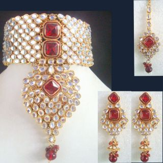 Jodha Akbar Ruby Kundan Meena Choker Gold Tone Bridal Necklace Jewelry