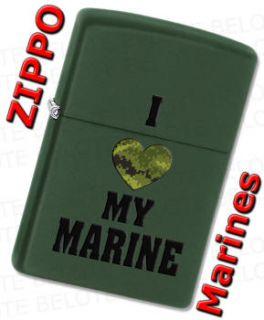 Zippo USMC I Love My Marine Green Matte Windproof Lighter 28338 **NEW