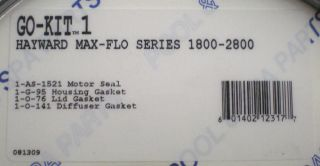 Aladdin Go Kit 1 Hayward Max Flo Pump Repair Kit 2800