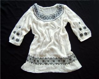 Airy Whisper White Cotton Boho Tunic Blouse Top Sweet Embroidery 5 C3