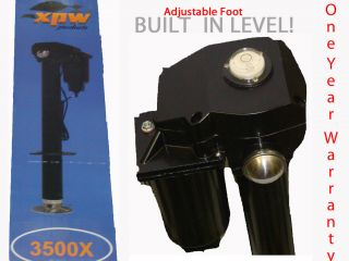 Camper Trailer Tongue Jack w LEVEL Adjustable Foot 3500 Electric Power
