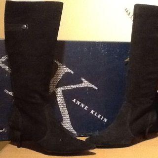 AK Anne Klein Dirk iFlex Black Suede High Heel Boot Size 6.5M MSRP $
