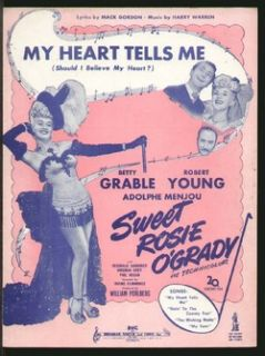 Sweet Rosie OGrady 1943 My Heart Tells Me Betty Grable Vintage Sheet