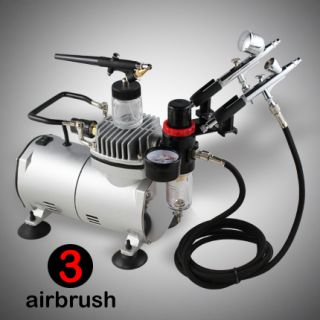 New 3 Airbrush Compressor Kit Dual Action Spray Air Brush Set Tattoo