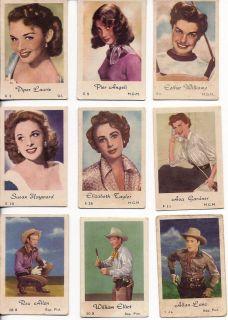 1952 Gum Film Star Cards, Dutch   Ava Gardner, Eliz Taylor, Etc.