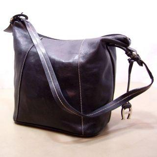 Etienne Aigner Black Leather Hobo Shoulder Bag Feet on Bottom Handbag