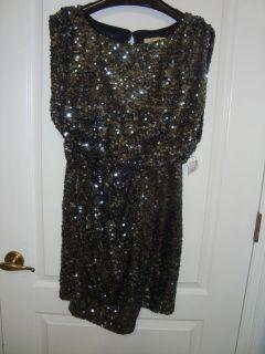 New Aidan Mattox Black Sequins Dress Size 8