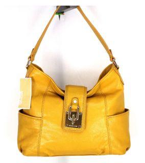 NWOT Michael Kors Mustard Yellow Leather Hobo Hand Bag Purse shoulder