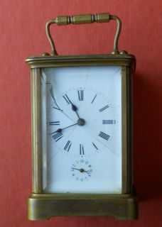 Antique Miniature French Carriage Alarm Clock Brass
