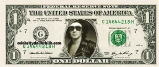 Van Halen Alex Van Halen Celebrity Dollar Bill Uncirculated Mint US