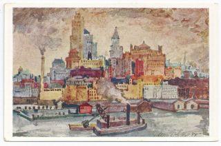Postcard New York New York City Set Art Scenes Albert Sallak