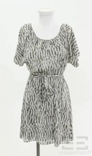 Alice Olivia Grey White Printed Silk Dress Size Small