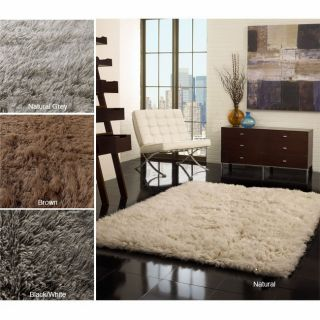 Hand Woven Alexa Flokati Wool Shag Rug 8 x 10