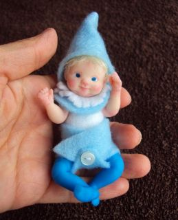 MINI REALISTIC BABY ELF FAIRY POSEABLE BY LIDIA ALBANESE POLYMER CLAY