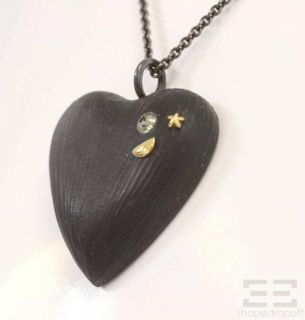 Alexis Bittar Black Lucite Swarovski Crystal Heart Pendant Necklace