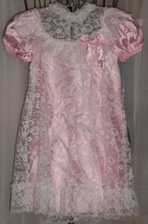 Alfred Angelo Flower Girl Dress Sz 5WHITE Lace Over Pink Satin