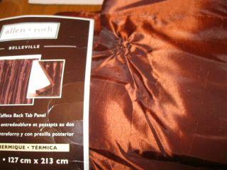 Allen Roth BELLEVILLE SPICE Drape Curtain Lined Taffeta Back Tab