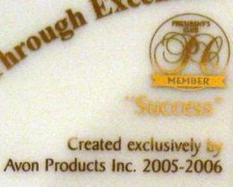 Avon Mrs Albee Presidents Club Reward Plate 2005 2006 BNIB