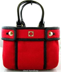 KATE SPADE $298 CHESTNUT HILL ALDA QUINN RED BLACK WOOL SATCHEL BAG