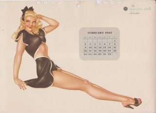 Alberto Vargas Esquire Calendar Pinup Page February 1947 47 Varga with