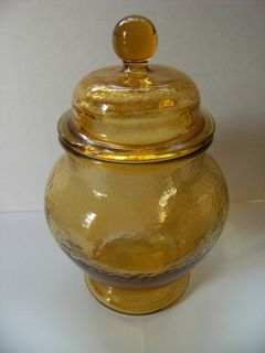 Vintage Amber Depression Glass Cookie Jar Ginger Jar