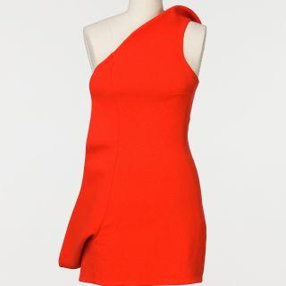 Amber Rose Jil Sander Asymmetrical Tangerine Dream Dress FV12B