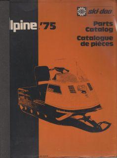 1975 Bombardier Ski Doo Alpine Snowmobile Parts Manual