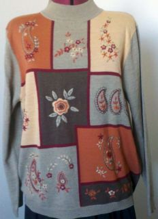 Alfred Dunner Womens Sweater Embroidery Sequens Beads L