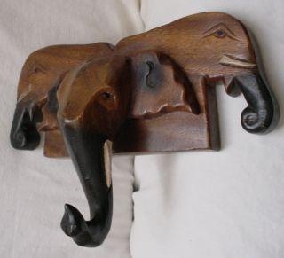 Handmade Wooden Wall Hook Asian Elephant Safari Jungle Theme Child Hat